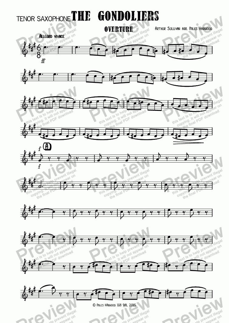 page one of the Tenor Saxophone part from Overture to 'The Gondoliers'