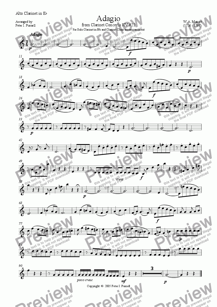 page one of the Alto Clarinet in Eb part from Adagio from Clarinet Concerto KV622 for Solo Clarinet in Bb