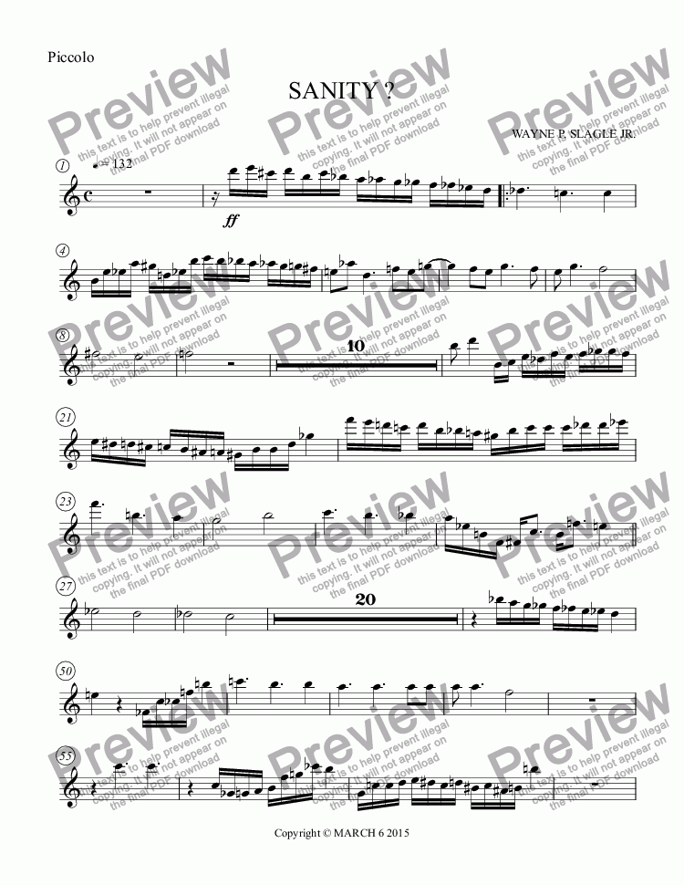 page one of the Piccolo part from SANITY ?