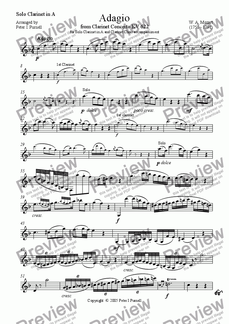 page one of the Solo Clarinet in A part from Adagio from Clarinet Concerto KV622 for Solo Clarinet in A