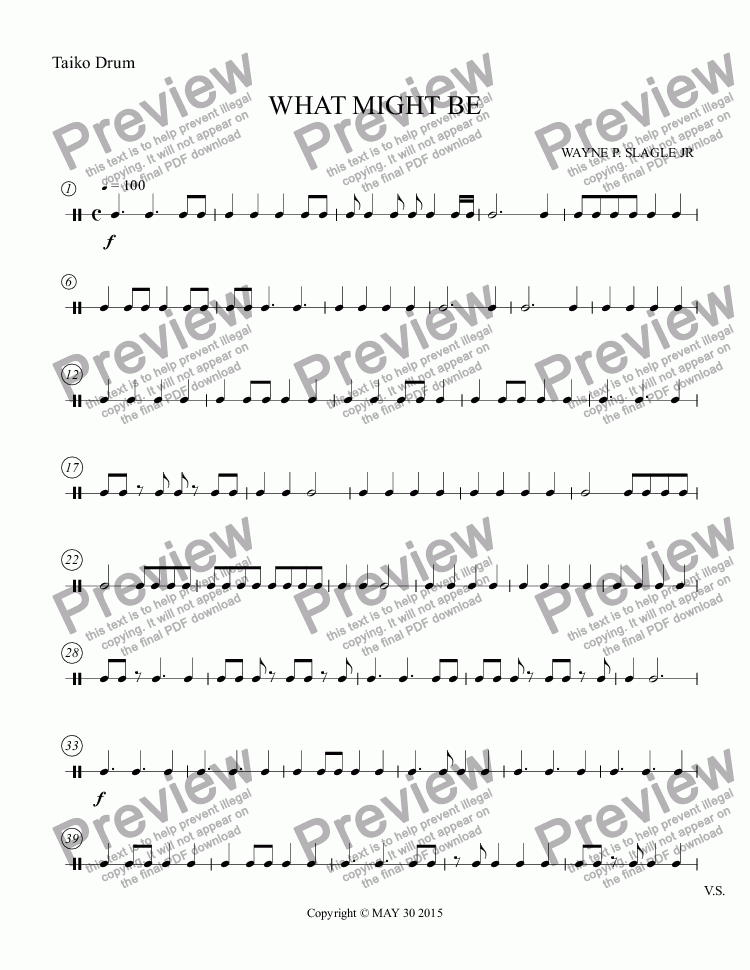 page one of the Taiko Drum part from WHAT MIGHT BE