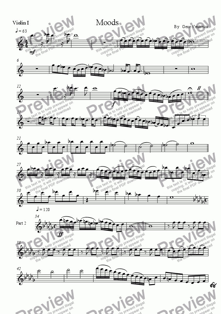 page one of the violin 1 part from Moods
