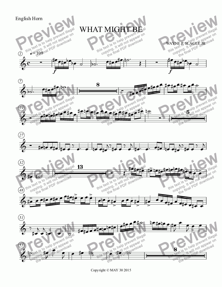 page one of the English Horn part from WHAT MIGHT BE