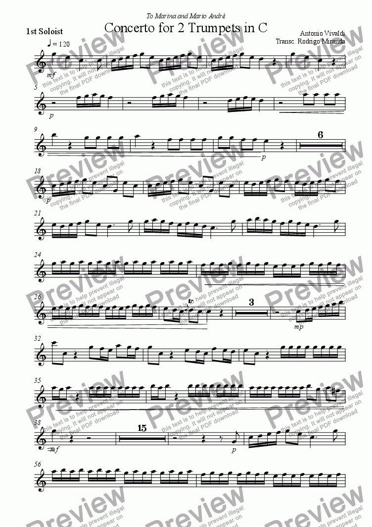 page one of the 1st Soloist part from Concerto for 2 Trumpets in C