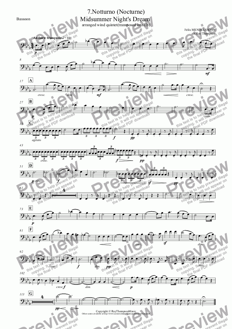 page one of the Bassoon part from Midsummer Night's Dream: 7.Notturno (Nocturne) (complete transposed into Eb): arranged wind quintet