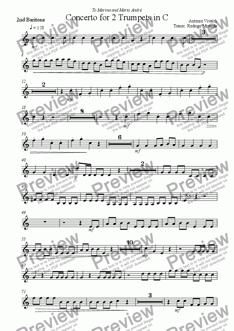 page one of the 2nd  Baritone part from Concerto for 2 Trumpets in C