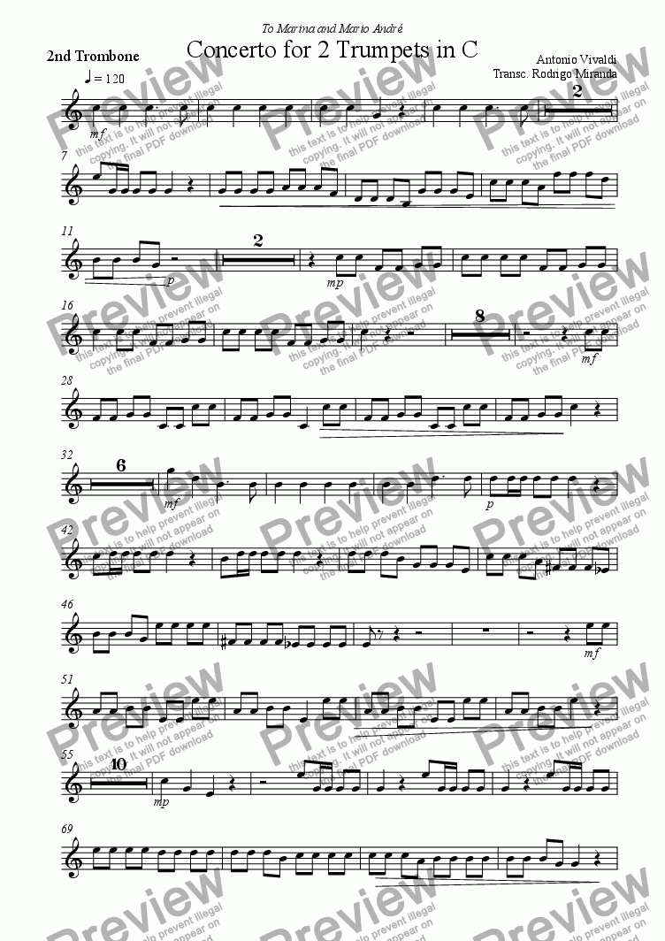 page one of the 2nd Trombone part from Concerto for 2 Trumpets in C