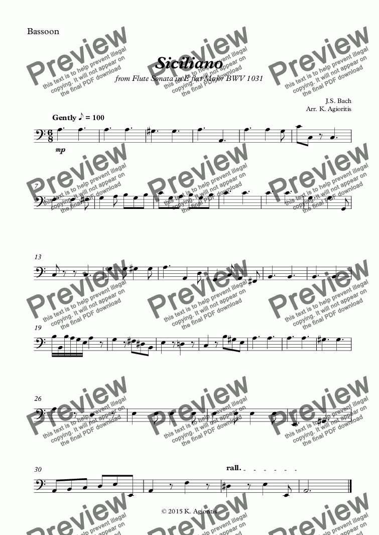 page one of the Bassoon part from Siciliano - Woodwind Quartet