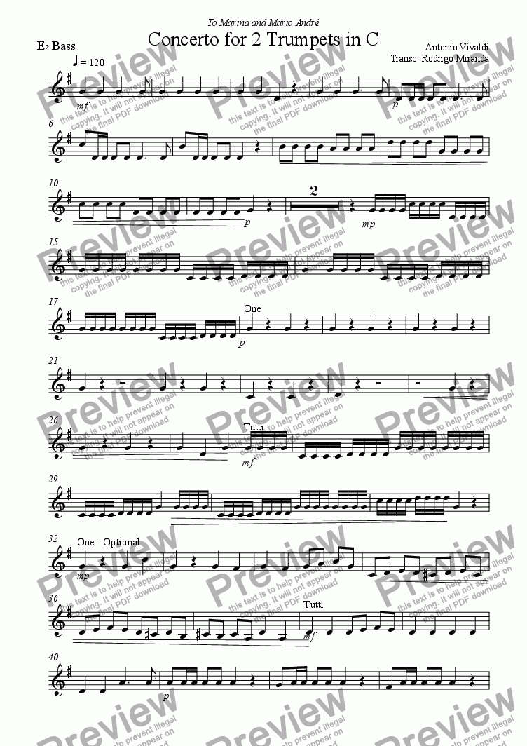 page one of the Bass Eb part from Concerto for 2 Trumpets in C