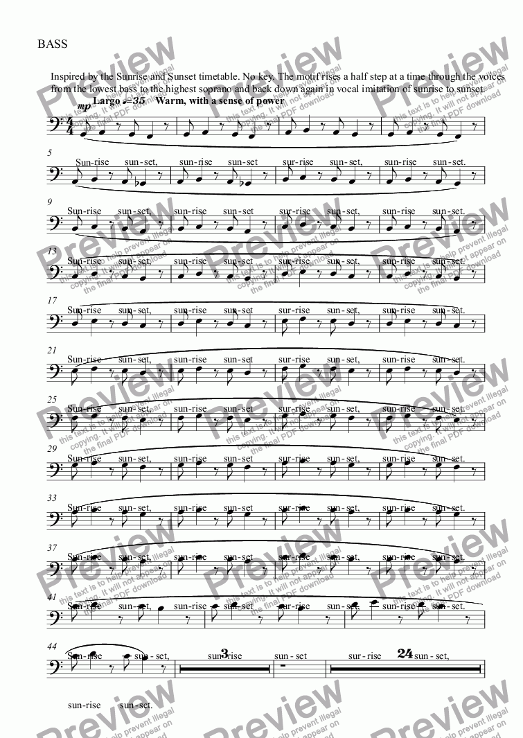 page one of the BASS part from Sunrise, Sunset
