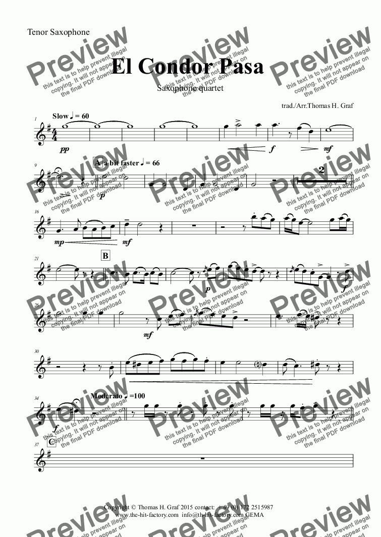 page one of the Tenor Saxophone part from El Condor pasa - Peruvian Folk Song - Saxophone Quartet