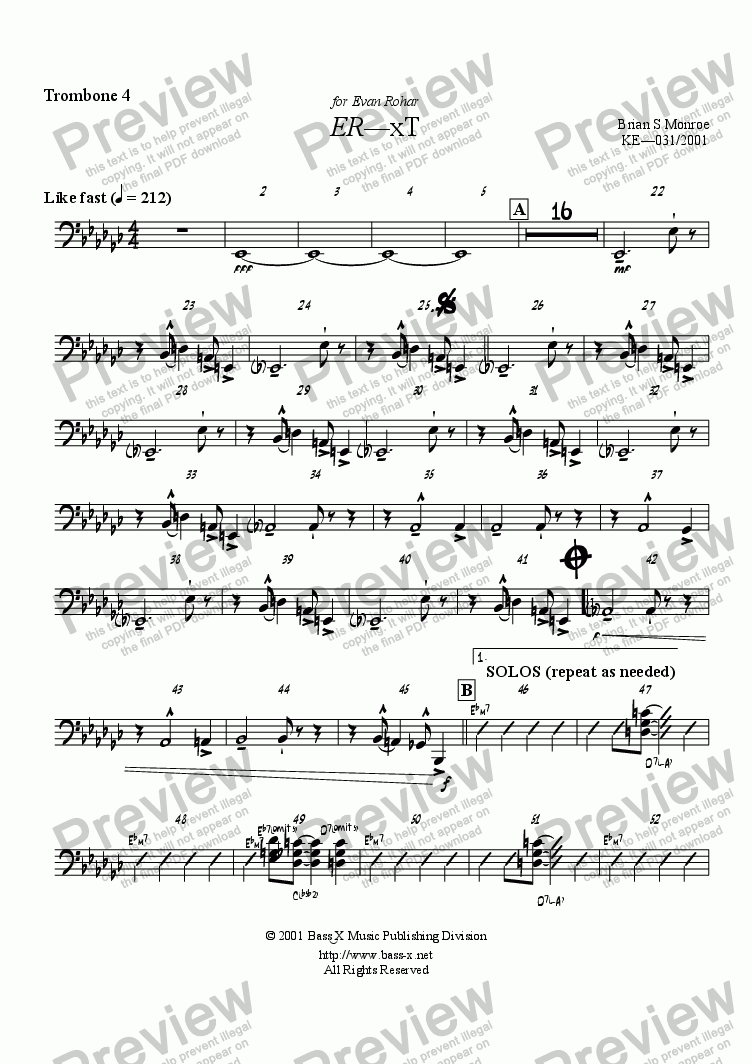 page one of the 4th Trombone part from ER-xT