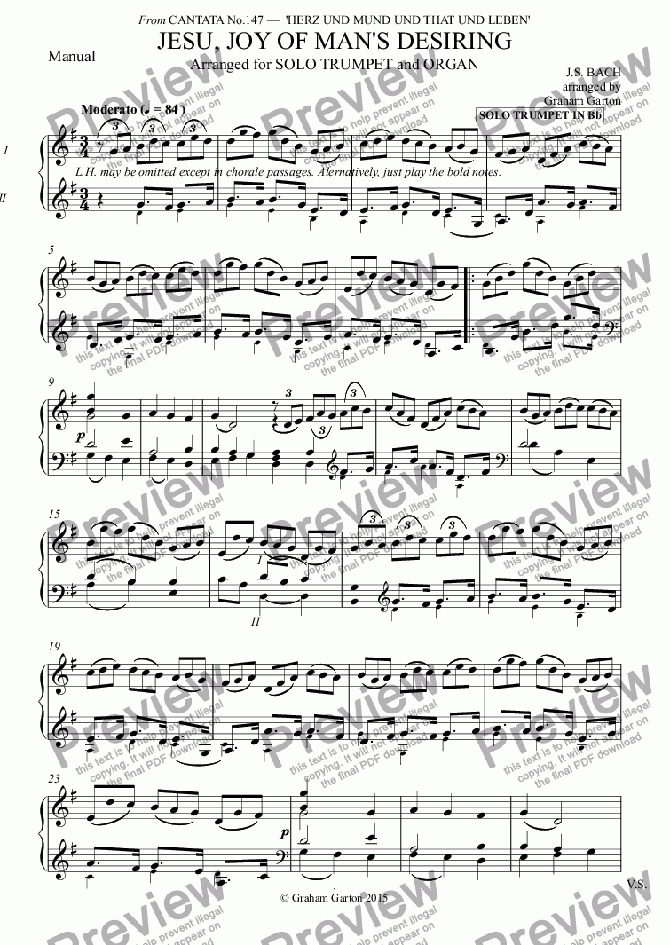 page one of the Manual part from INSTRUMENTAL- BACH - JESU, JOY OF MAN'S DESIRING arranged for SOLO TRUMPET in Bb with Organ (2-Man. and Ped.) Score