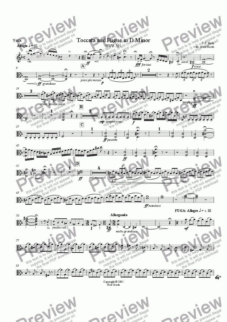 page one of the Viola part from Toccata and Fugue in D minor [String Quartet]