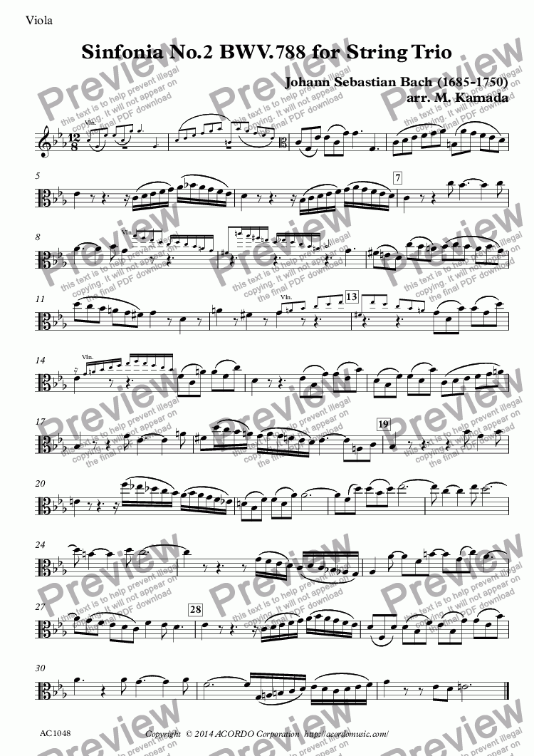 page one of the Viola part from Sinfonia No.2 BWV.788 for String Trio