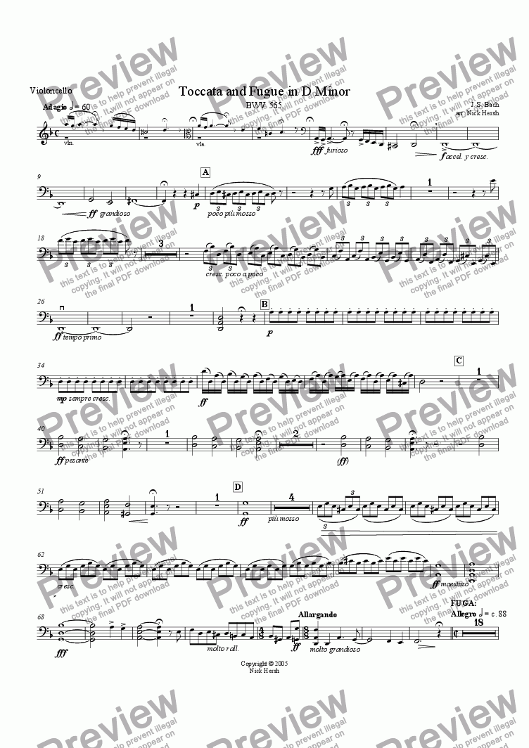 page one of the Cello part from Toccata and Fugue in D minor [String Quartet]