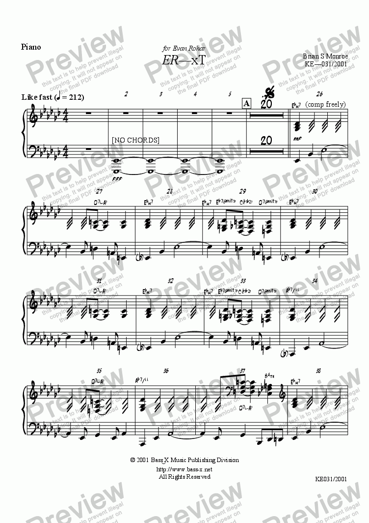 page one of the Piano part from ER-xT