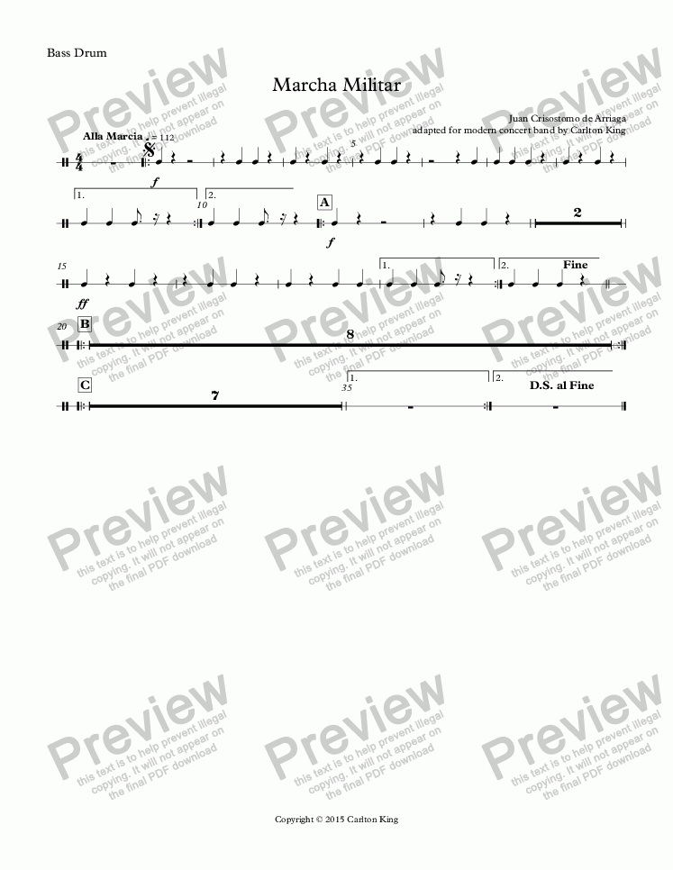 page one of the Bass Drum part from Marcha Militar