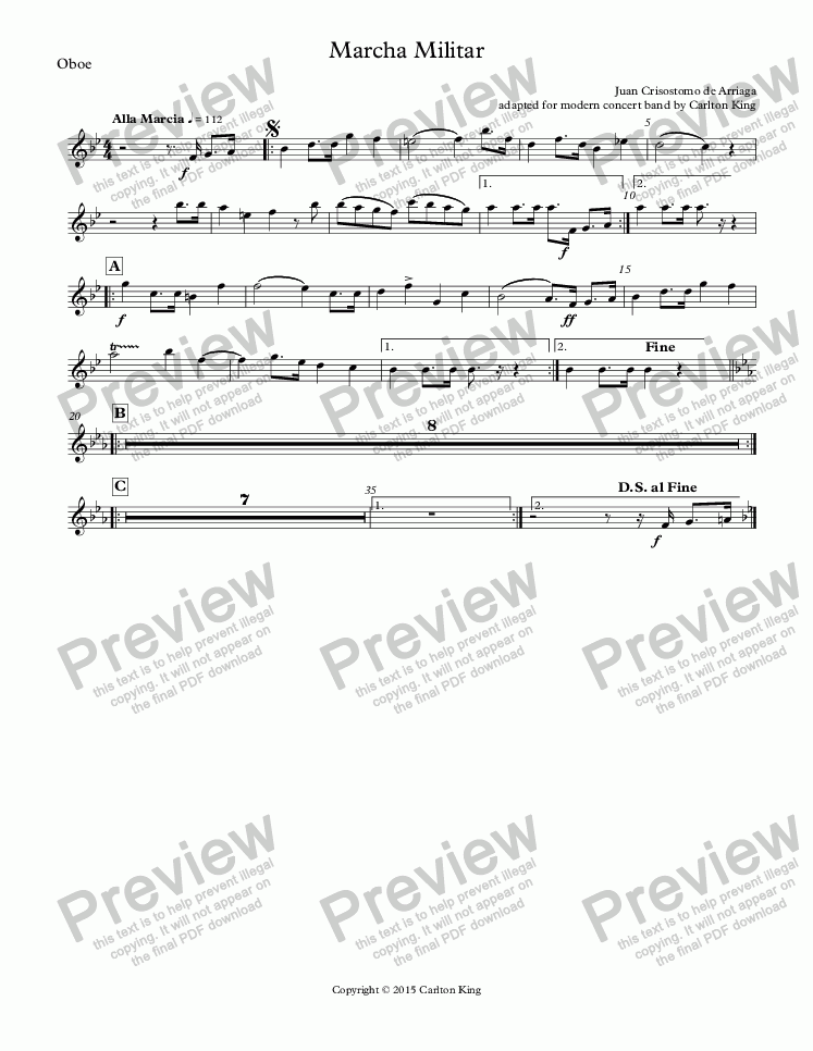 page one of the Oboe part from Marcha Militar