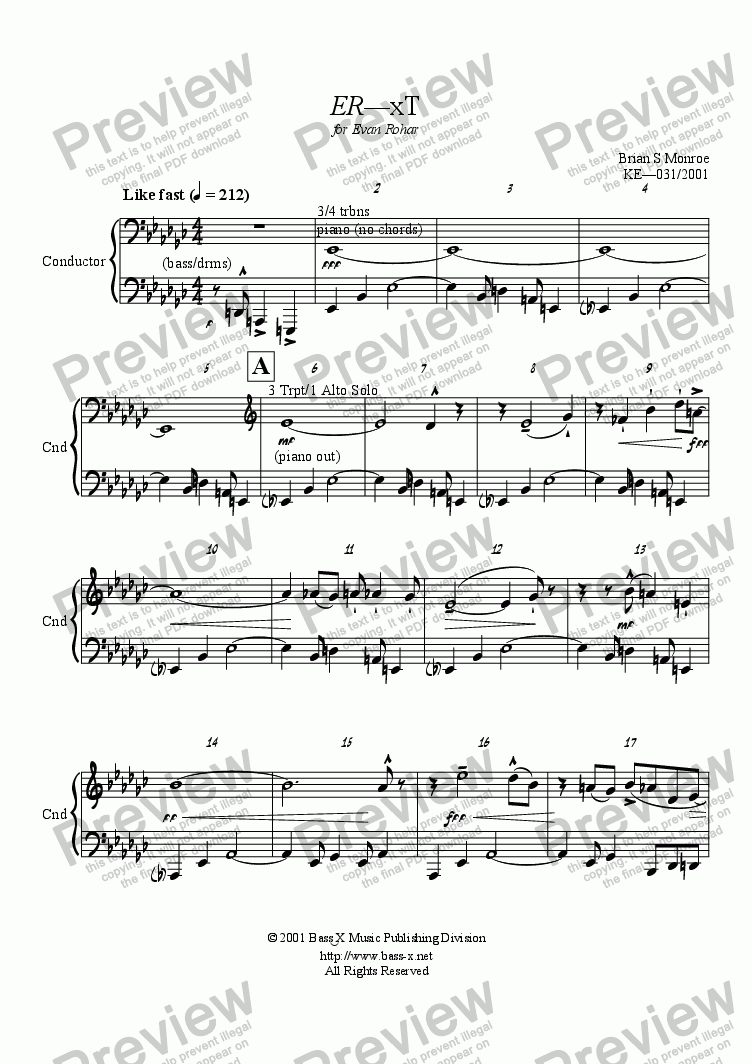page one of the Condensed Score part from ER-xT