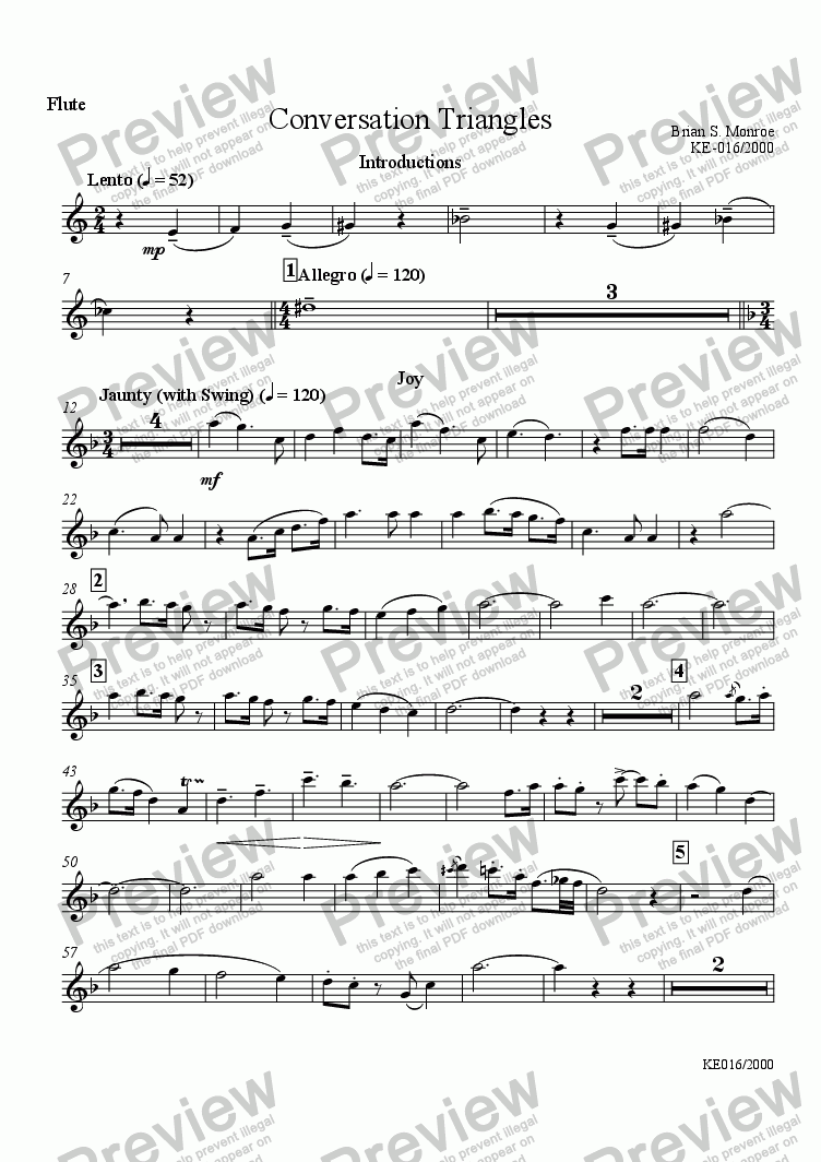 page one of the Flute part from Conversation Triangles