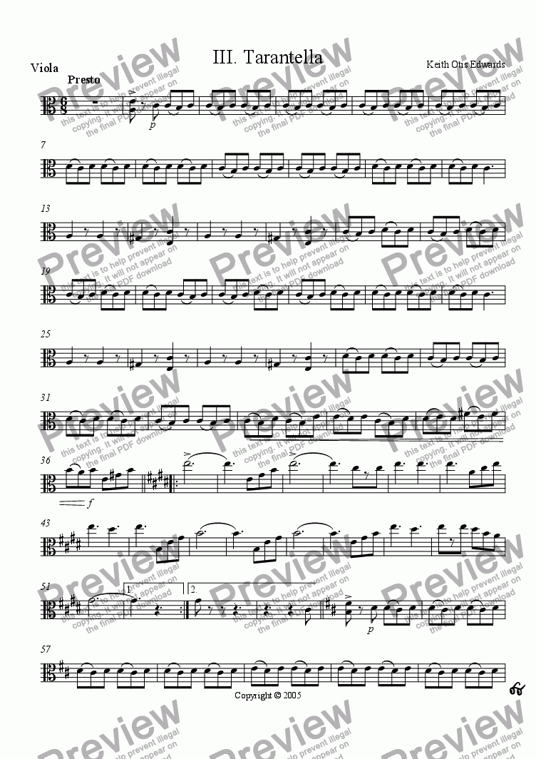 page one of the Viola part from Italian Concertino for Clarinet and Strings - III. Tarantella