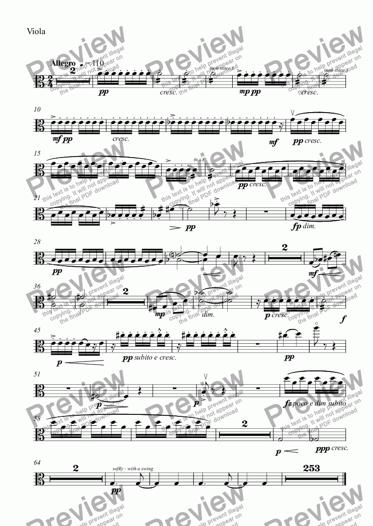 page one of the Viola part from Clarinet Concerto - III