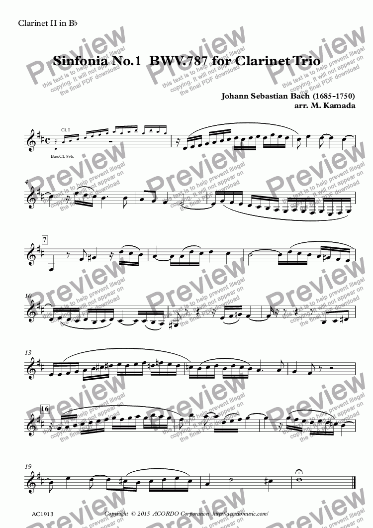 page one of the Clarinet II in Bb part from Sinfonia No.1  BWV.787  for Clarinet Trio