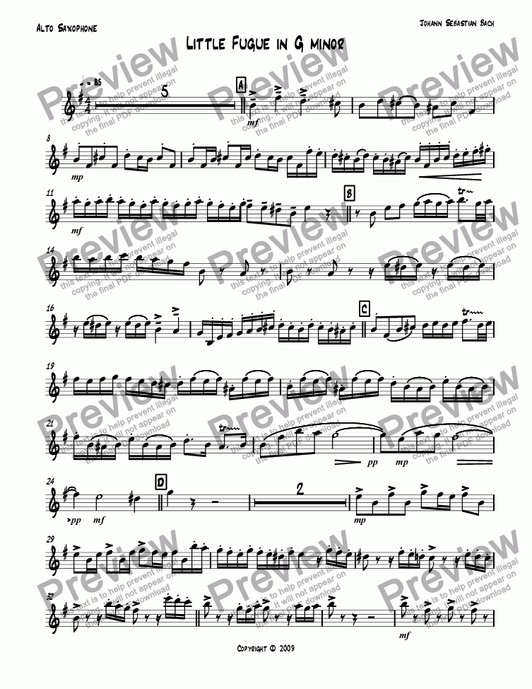 page one of the Alto Saxophone part from Little Fugue in G minor