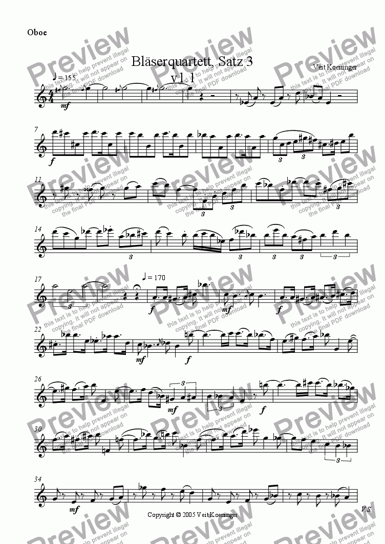 page one of the oboe part from Wind quartet 1, Movement 3