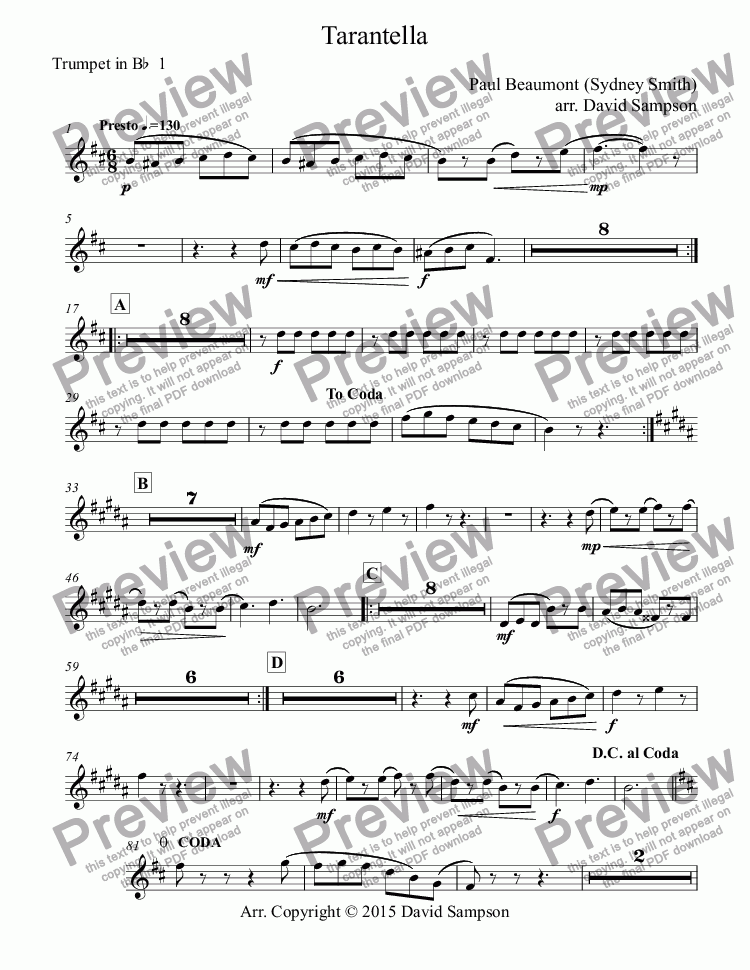 All Music Chords free trumpet solo sheet music : Trumpet in Bb 1 part from Tarantella - Sheet Music PDF file
