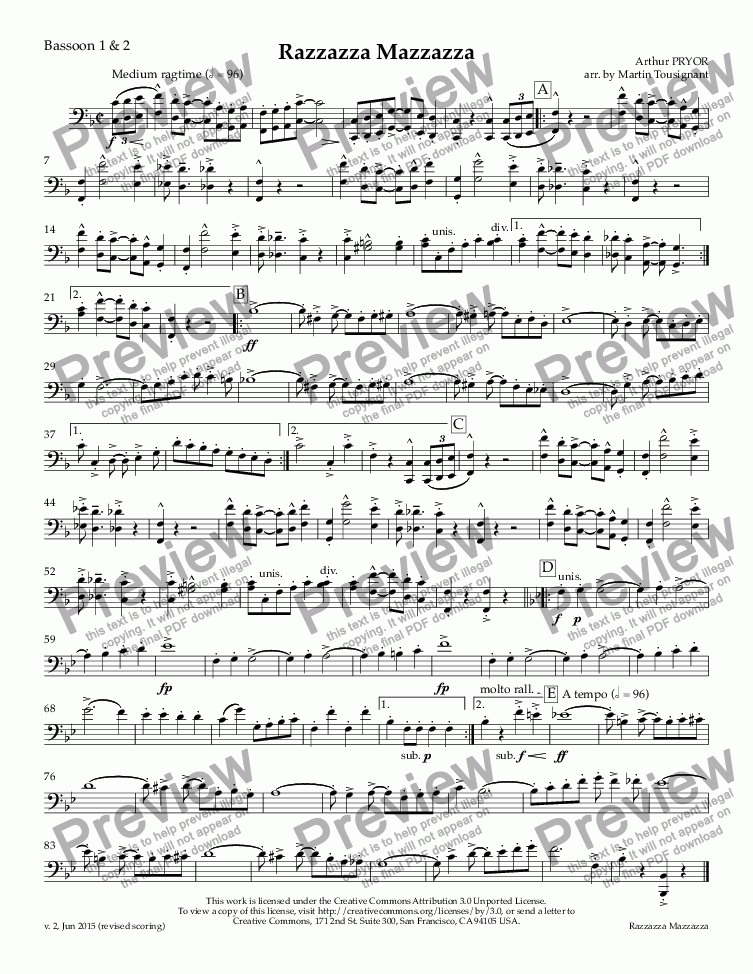 page one of the Bassoon 1 & 2 part from Razzazza Mazzazza