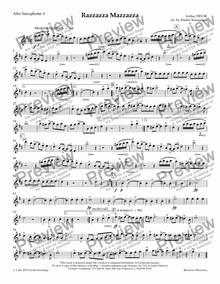 page one of the Alto Saxophone 1 part from Razzazza Mazzazza