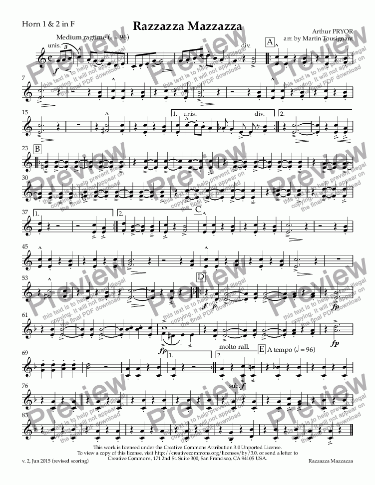 page one of the Horn 1 & 2 in F part from Razzazza Mazzazza