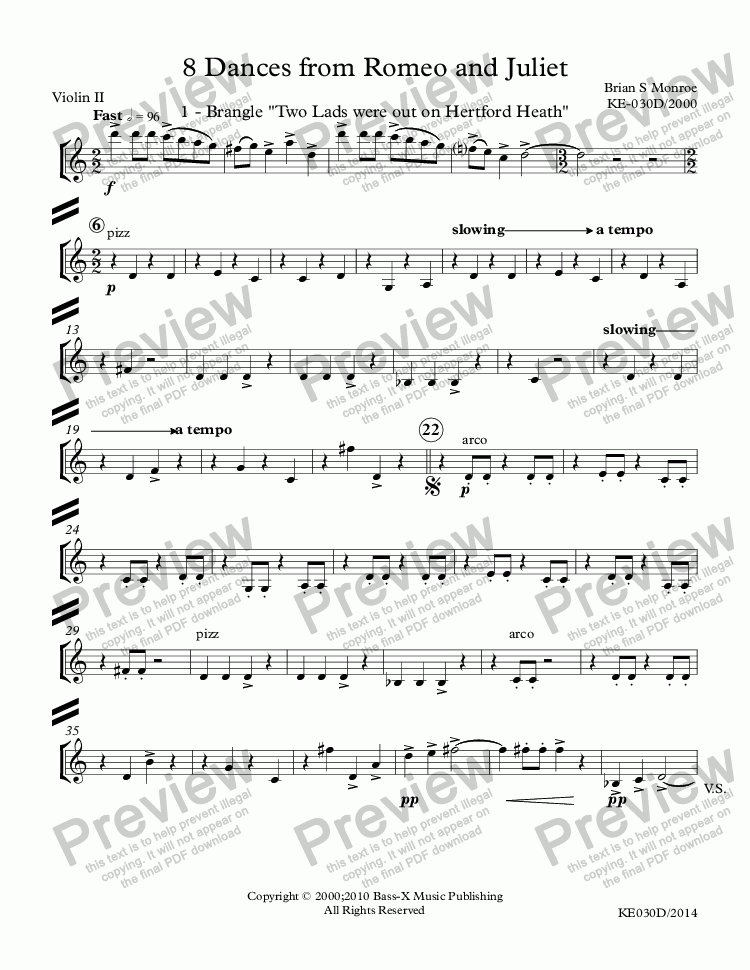 page one of the Violin II part from 8 Dances from Romeo and Juliet (Update 2015)