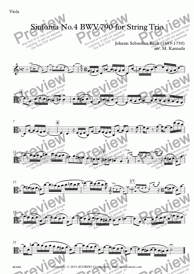 page one of the Viola part from Sinfonia No.4 BWV.790 for String Trio