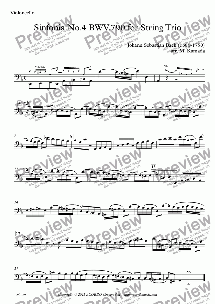 page one of the Violoncello part from Sinfonia No.4 BWV.790 for String Trio