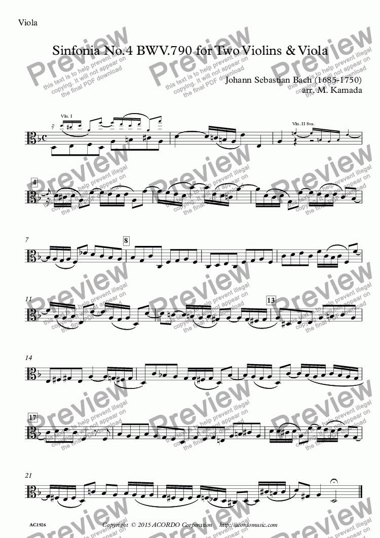 page one of the Viola part from Sinfonia No.4 BWV.790 for Two Violins & Viola
