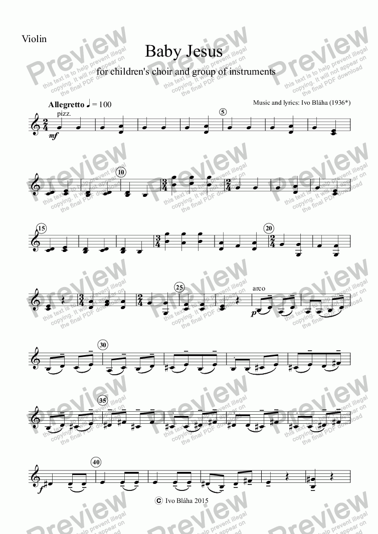 page one of the Violino part from BABY JESUS (Ježíšku, Ježíšku) for children's choir and group of instruments (English words)
