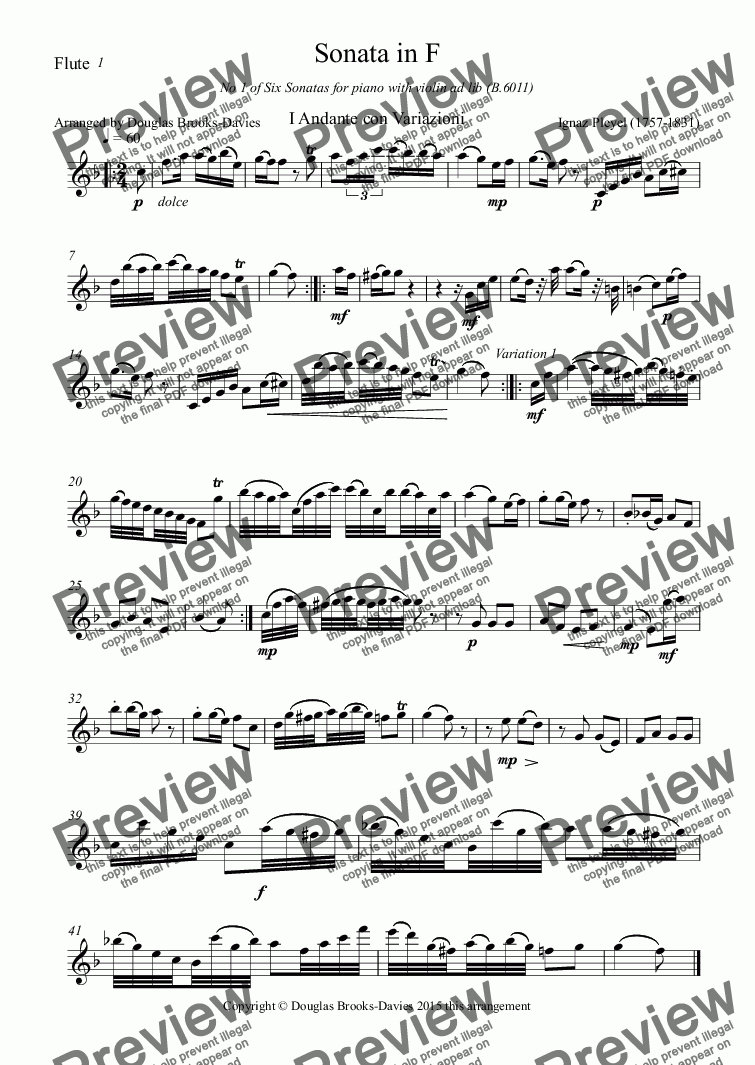 page one of the Flute part from PLEYEL, IGNAZ: Sonata in F (B.6011) arranged for 3 flutes