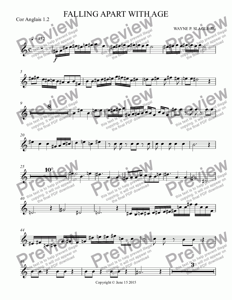 page one of the Cor Anglais 1.2 part from FALLING APART WITH AGE