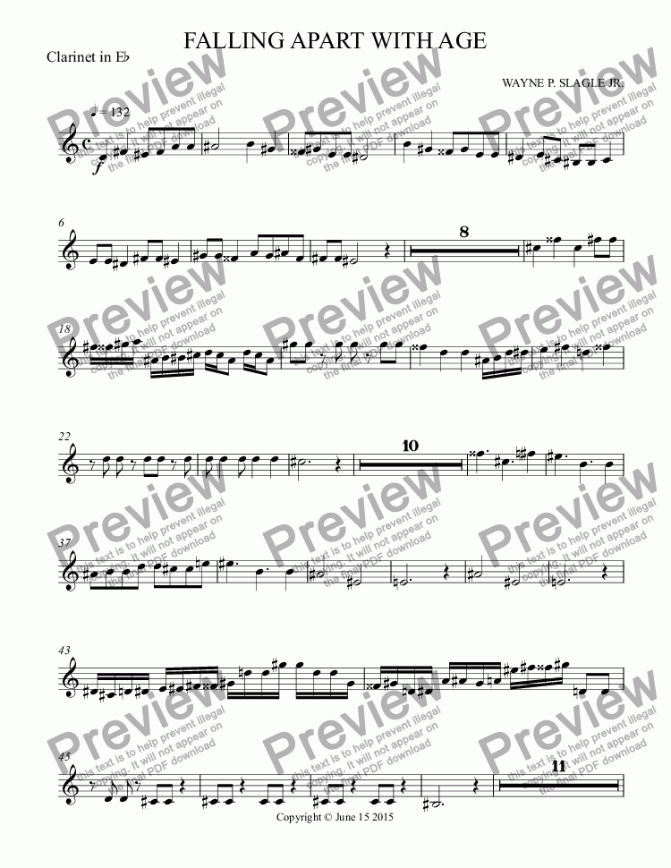 page one of the Clarinet in E^b part from FALLING APART WITH AGE