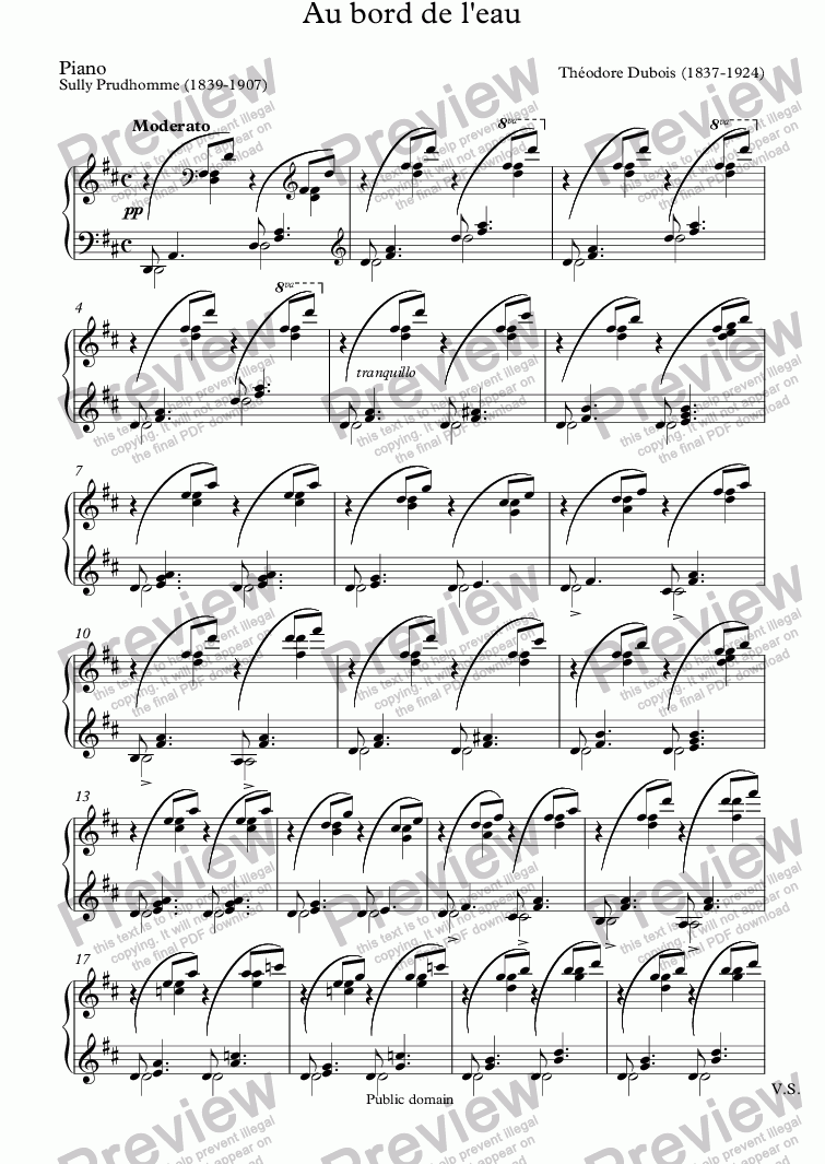 page one of the Piano part from Au bord de l'eau (Théodore Dubois - Sully Prudhomme)
