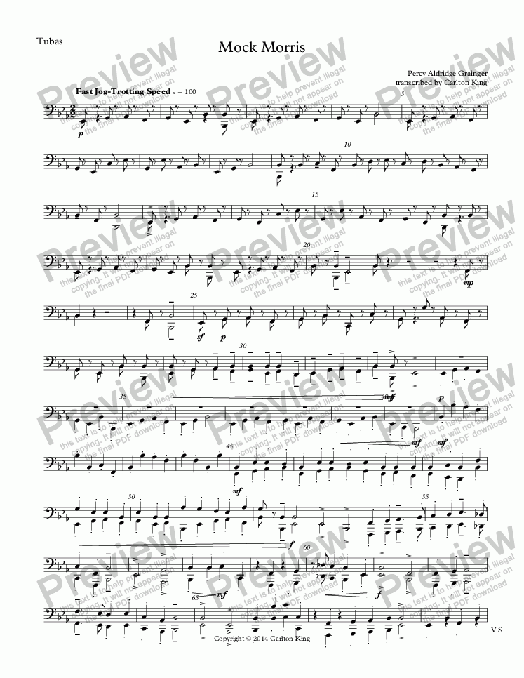 page one of the Tubas part from Mock Morris