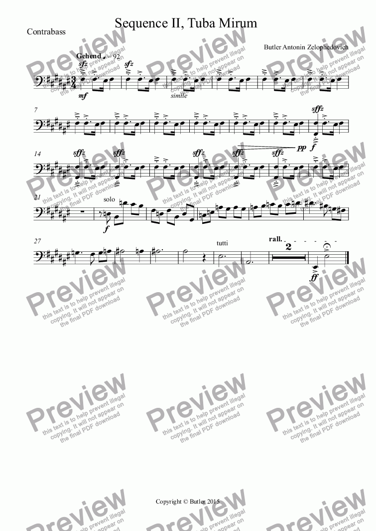 page one of the Contrabass part from Sequence II, Tuba Mirum