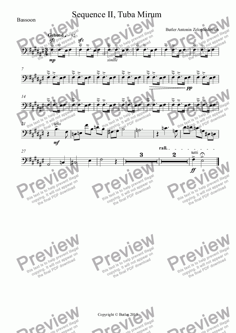 page one of the Bassoon part from Sequence II, Tuba Mirum