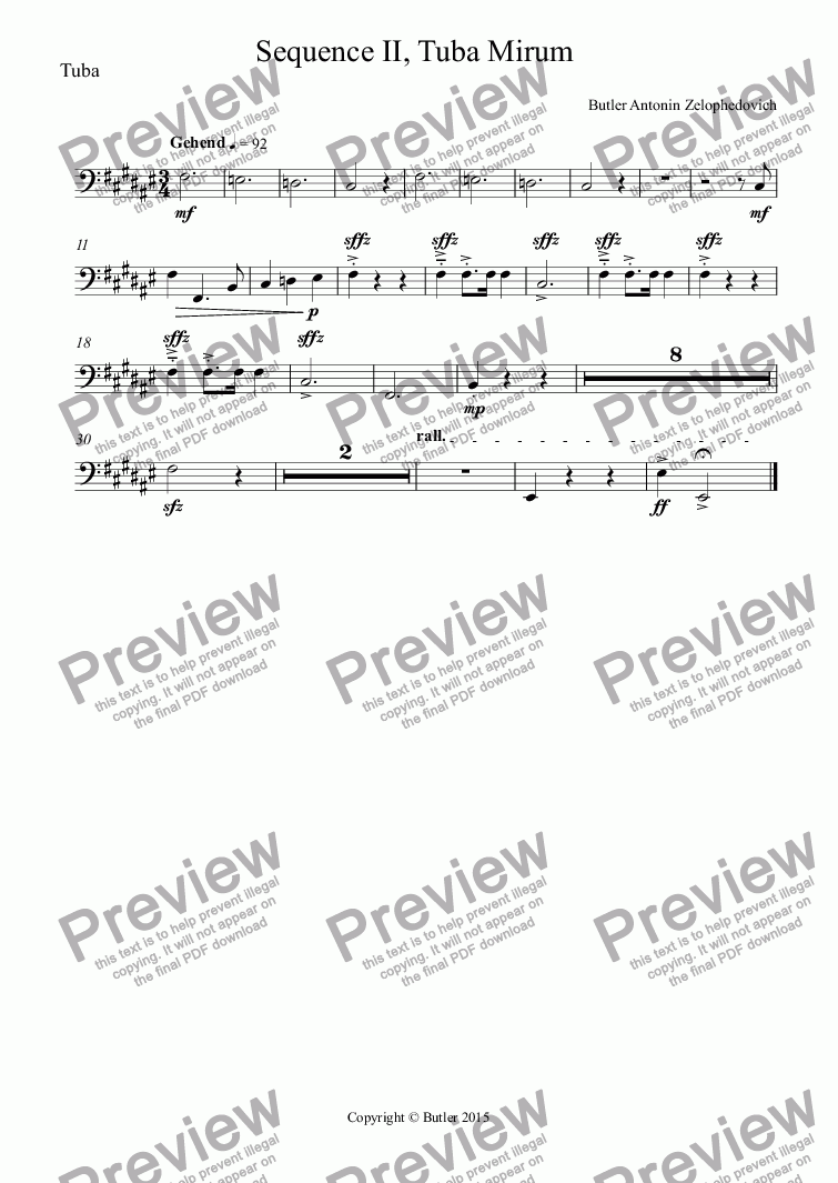 page one of the Tuba part from Sequence II, Tuba Mirum