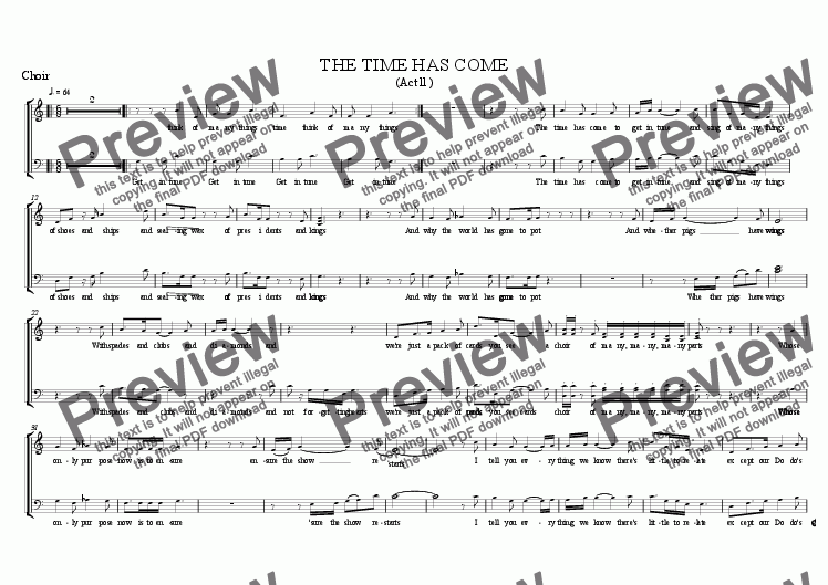 page one of the choir part from The Time Has Come ( from Alice, the Musical )