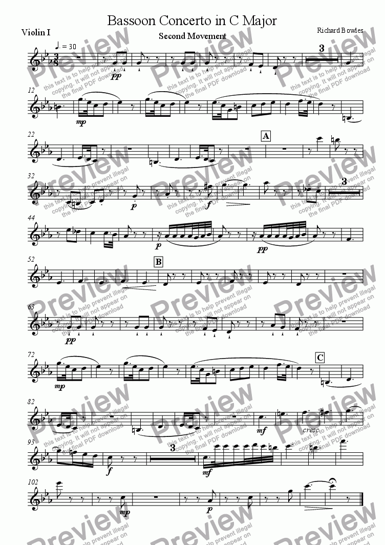 page one of the Violin I part from Bassoon Concerto in C Major - Second Movement