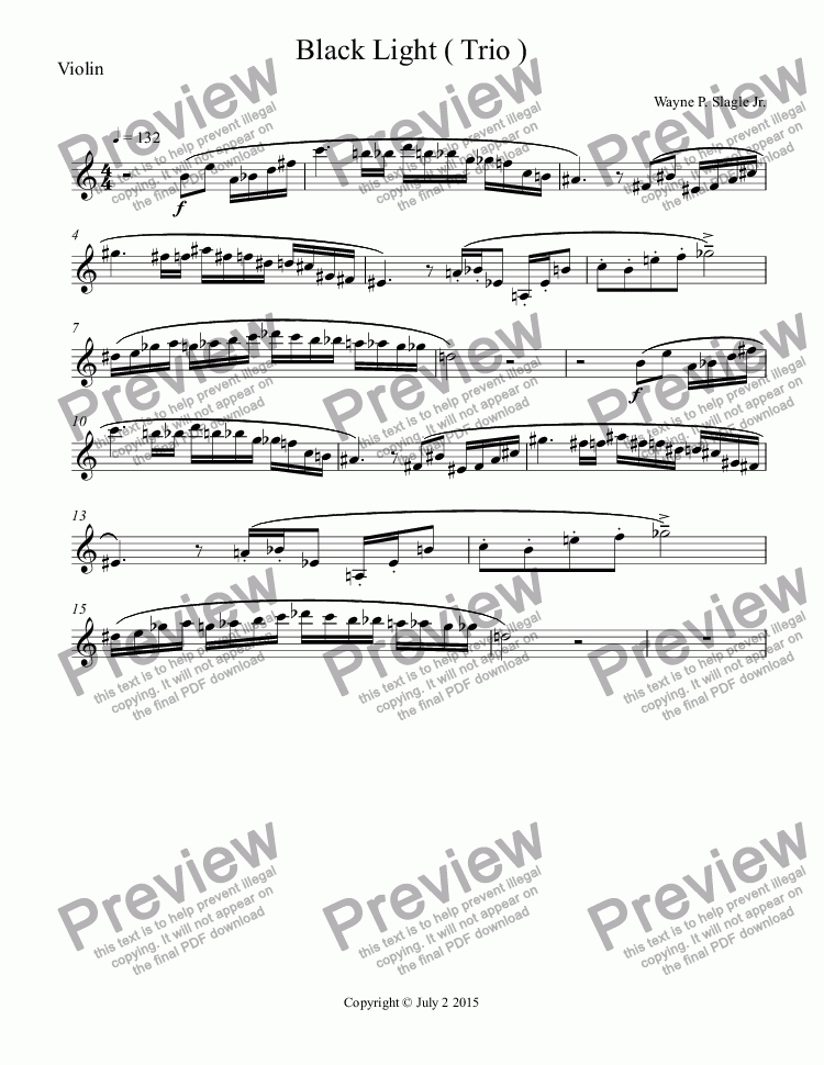 page one of the Violin part from Black Light ( Trio )
